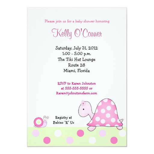 Lonnie's Pink Turtle Baby Shower Invitation