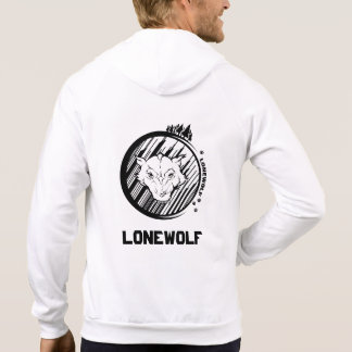 Lonwolf Men's Fleece Zip Hoodie, White Hoodie