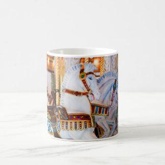 Looff Carousel Horses Coffee Mug Blue and White