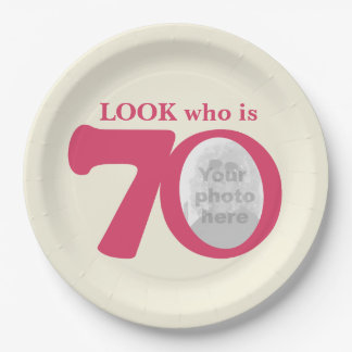 Look 70th birthday photo cream pink paper plate 9 inch paper plate