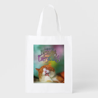 Look For Blessing Contented Cat MotivationalQuote Reusable Grocery Bag