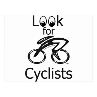 Look for cyclists postcard