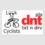 look for cyclists rectangular sticker