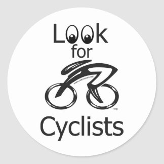 Look for cyclists round stickers