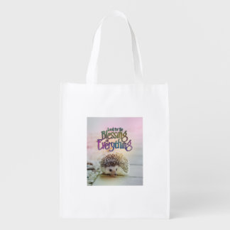 Look For The Blessing Hedgehog Motivational Quote Reusable Grocery Bag
