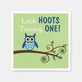 Look Hoots Turning 1 Owl Birthday Napkins