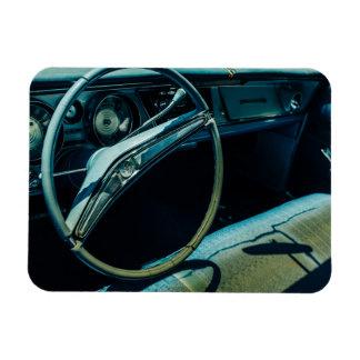 Look into a vintage car rectangular photo magnet