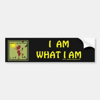Look Listen Bird Olive Car Bumper Sticker
