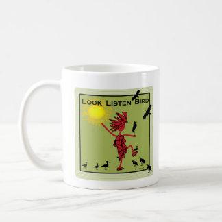 Look Listen Bird Olive Coffee Mug