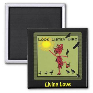 Look Listen Bird Olive Fridge Magnets