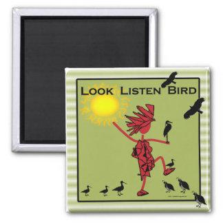 Look Listen Bird Olive Magnets