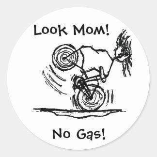 Look Mom! No Gas! Classic Round Sticker