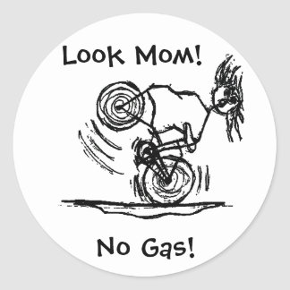 Look Mom! No Gas! Classic Round Sticker