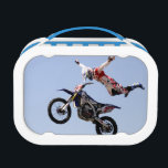 "Look mom no hands lunch box<br><div class=""desc"">A high flying motocross rider</div>"