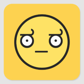 Look of Disapproval Smiley Face Square Sticker