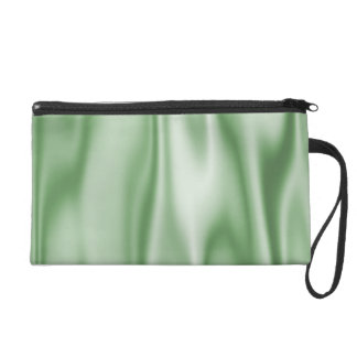 Look of Smooth Light Green Satin Fabric in Folds Wristlet Purse