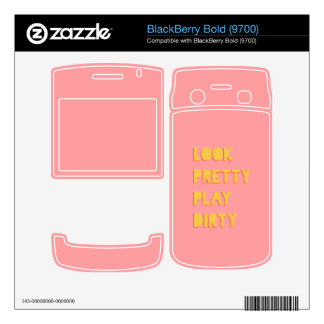 Look Pretty Play Dirty Success Quote Pink BlackBerry Decals