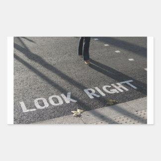 Look Right Sign, London, England Rectangular Sticker