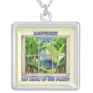 Look Through Any Window Square Pendant Necklace
