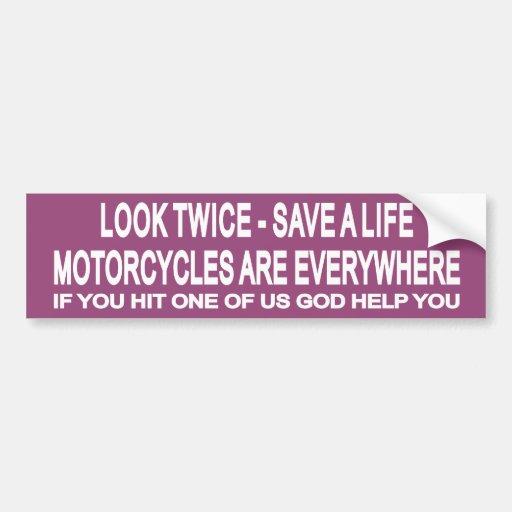 Look Twice 1 Car Bumper Sticker