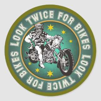 Look Twice for bikes Classic Round Sticker