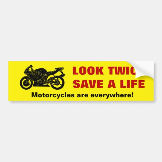 Look twice motorcycle awareness bumper sticker