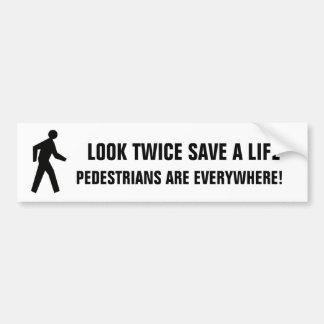 Look Twice Save A Life Pedestrians Sticker (white)