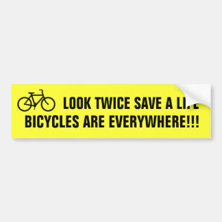 Look Twice Save A Life (yellow) Car Bumper Sticker