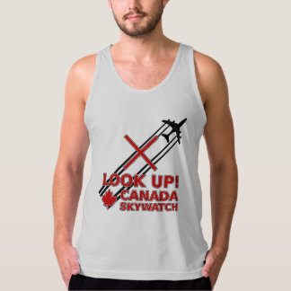 Look Up Canada Sky Watch Black Chemtrail Plane American Apparel Fine Jersey Tank Top