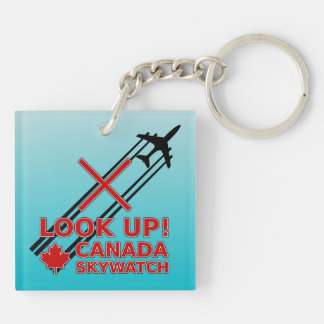Look Up Canada Sky Watch Black Chemtrail Plane Keychain