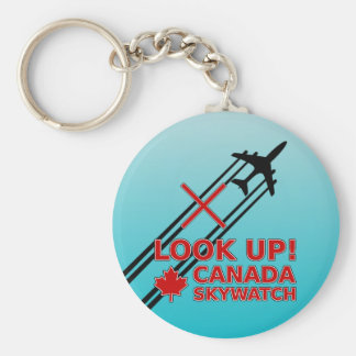 Look Up Canada Sky Watch Black Chemtrail Plane Keychains