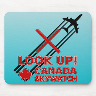 Look Up Canada Sky Watch Black Chemtrail Plane Mousepad