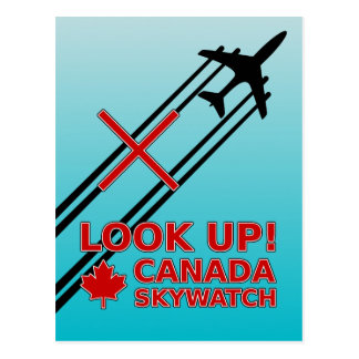 Look Up Canada Sky Watch Black Chemtrail Plane Postcard