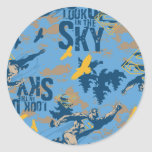 Look, up in the sky in blue round stickers