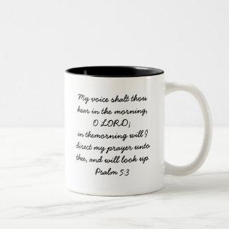 Look Up Psalm 5:3 Two-Tone Coffee Mug