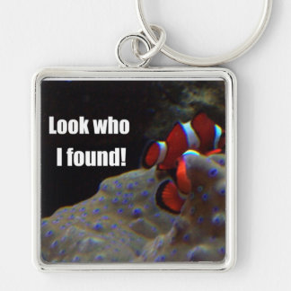 Look who I found! Silver-Colored Square Keychain