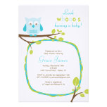 Look whooo's having a baby - Blue owl baby shower Custom Invite