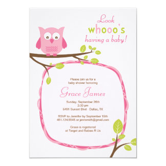 Look whooo's having a baby - Pink owl baby shower Card