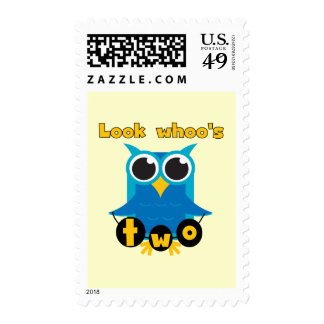 Look Whoo's 2 Birthday Tshirts and Gifts Stamps