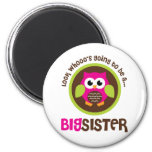 Look Whoos Going to be a Big Sister Owl 2 Inch Round Magnet
