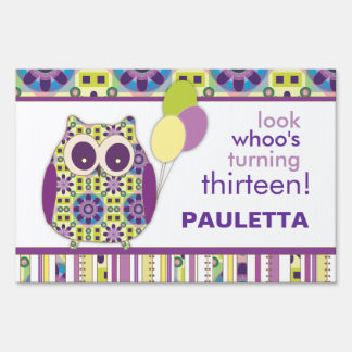 Look Whoo's Having a Birthday Purple Power Owl Yard Sign