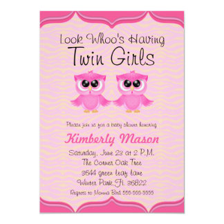 Look Whoo's Having Twin Girls Baby Shower Invite