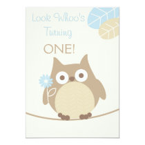 Look Whoo's Turning One Baby Boy Birthday Card