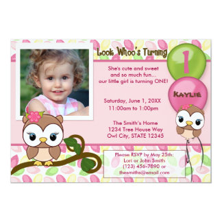 Look Whoo's Turning OWL birthday invitation(photo) Card