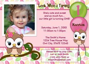 Owl Birthday Invitations Zazzle