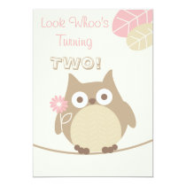 Look Whoo's Turning Two Baby Girl Birthday Card