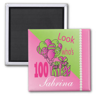 Look Who's 100   100th Birthday 2 Inch Square Magnet