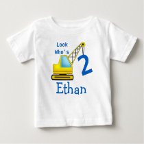 Look Who's 1 2 3 Second Birthday Construction Car Baby T-Shirt
