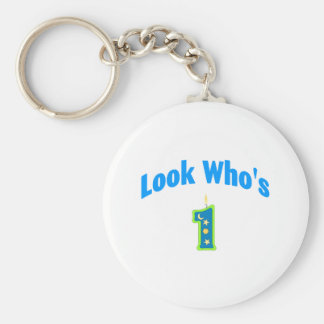 Look Who's 1 (2) Basic Round Button Keychain