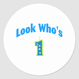 Look Who's 1 (2) Classic Round Sticker